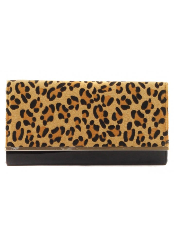 Black Patent Clutch Bag With Leopard Skin Front