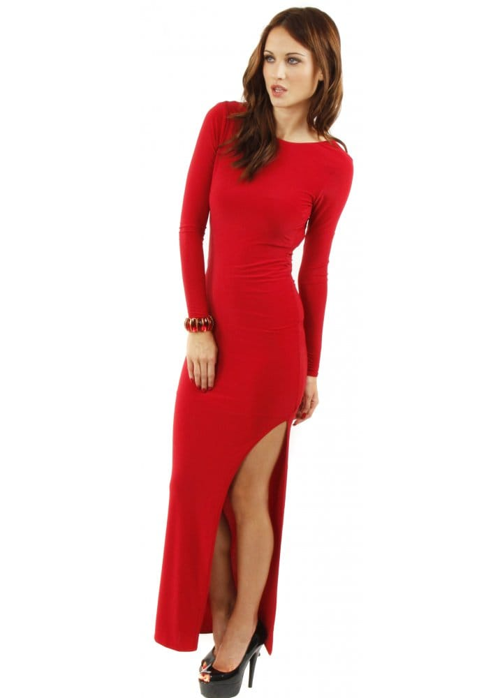 Red Maxi Dress Red Jersey Maxi Dress Side Split Maxi Dress