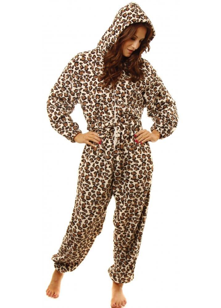 42a04acf51 Cream Soft Fleece Leopard Print Hooded Onesie