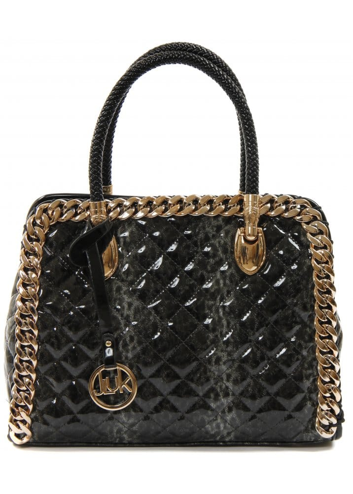 Grey Leopard Print Tote Bag Quilted Tote Bag Gold