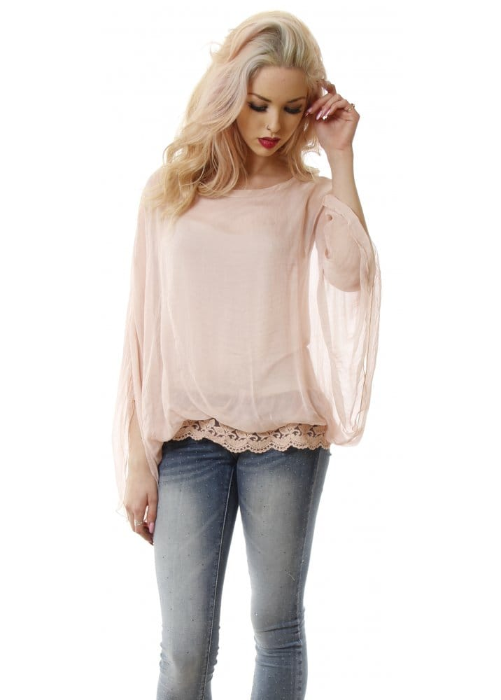 249f88b5672fcc Rose Pink Silk Lace Hemline Batwing Top