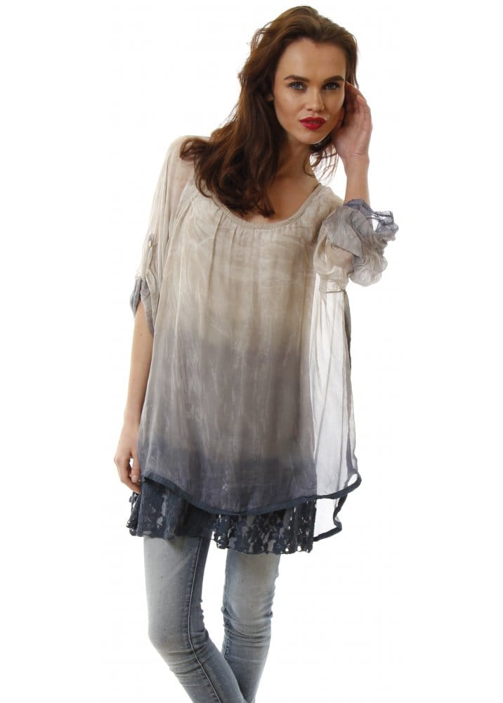 Beige  amp  Blue Dip Dye Silk Layered Lace Tunic Top