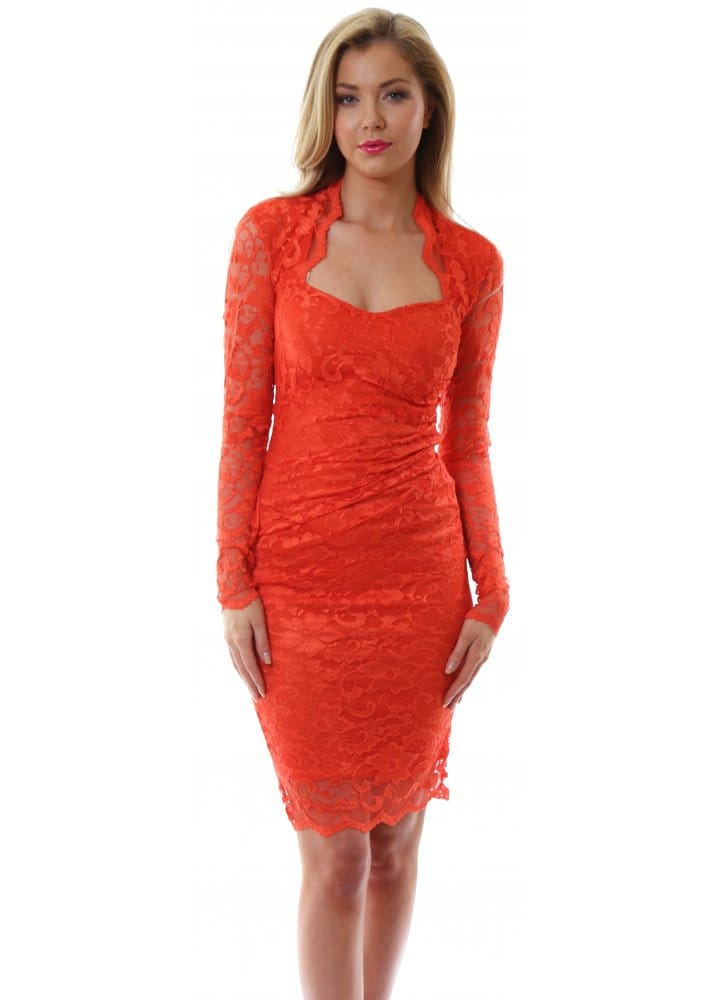 Goddess London Orange Lace Midi Dress Lace Day Dress