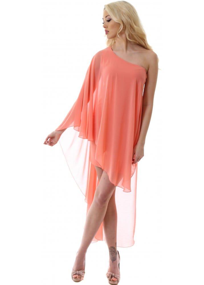 f541bb5626 Coral One Shoulder Chiffon Mini Hi-Lo Dress