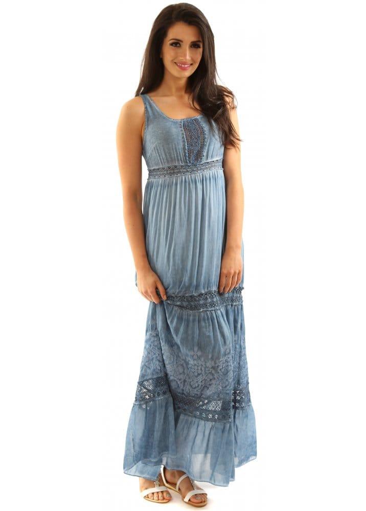 Monton Maxi Dress Made In Italy Denim Blue Silk Tiered