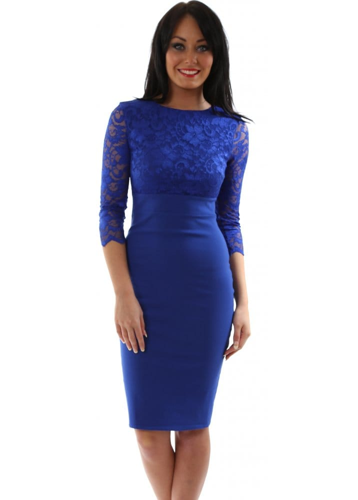 af25ccfc27d Cropped Sleeve Royal Blue Lace Bengaline Pencil Dress
