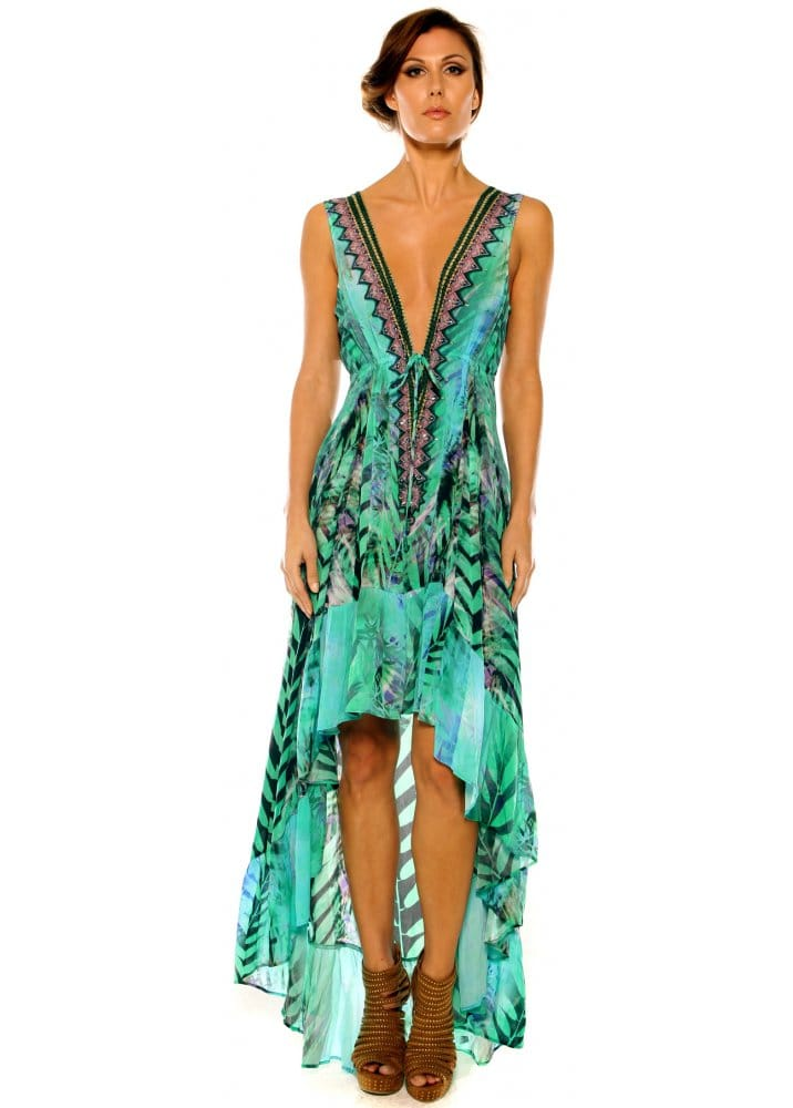 Parides Dress Parides Aqua Gree Palm Print Hi Low Silk