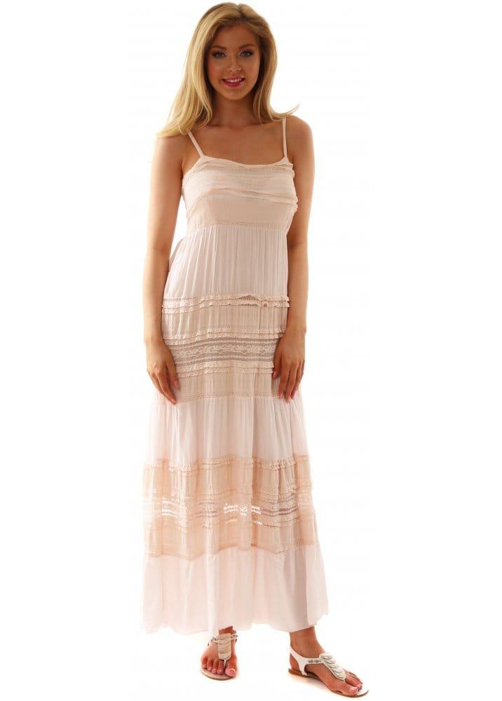 Monton Maxi Dress Italian Designer Boho Chic Pink Lace