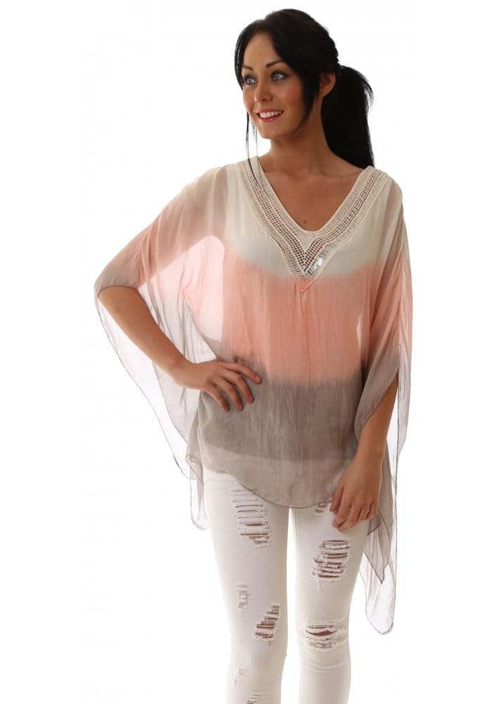 Grey  amp  Pink Ombre Silk Sequinned Neckline Tunic Top