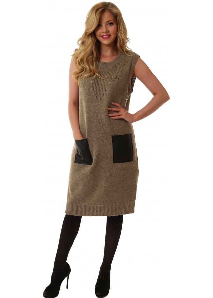 huge sale select for genuine vivid and great in style Solange Taupe Knitted Jumper Dress With PU Pockets