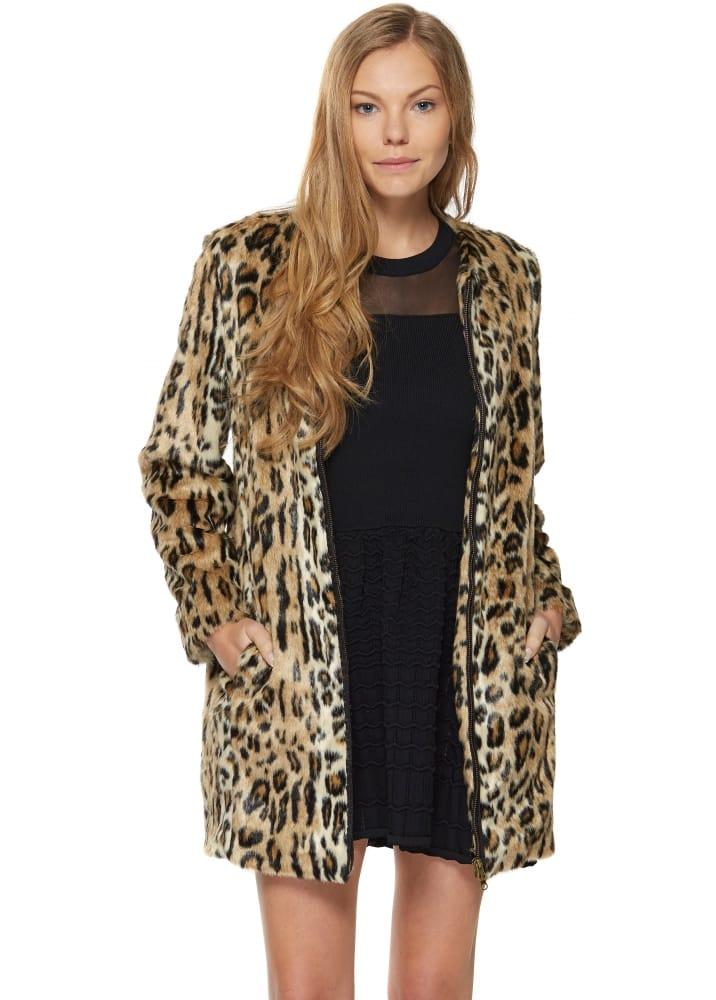 1f2e42121be9 Brigitte Bardot Erica Coat | Leopard Print Faux Fur Short Coat