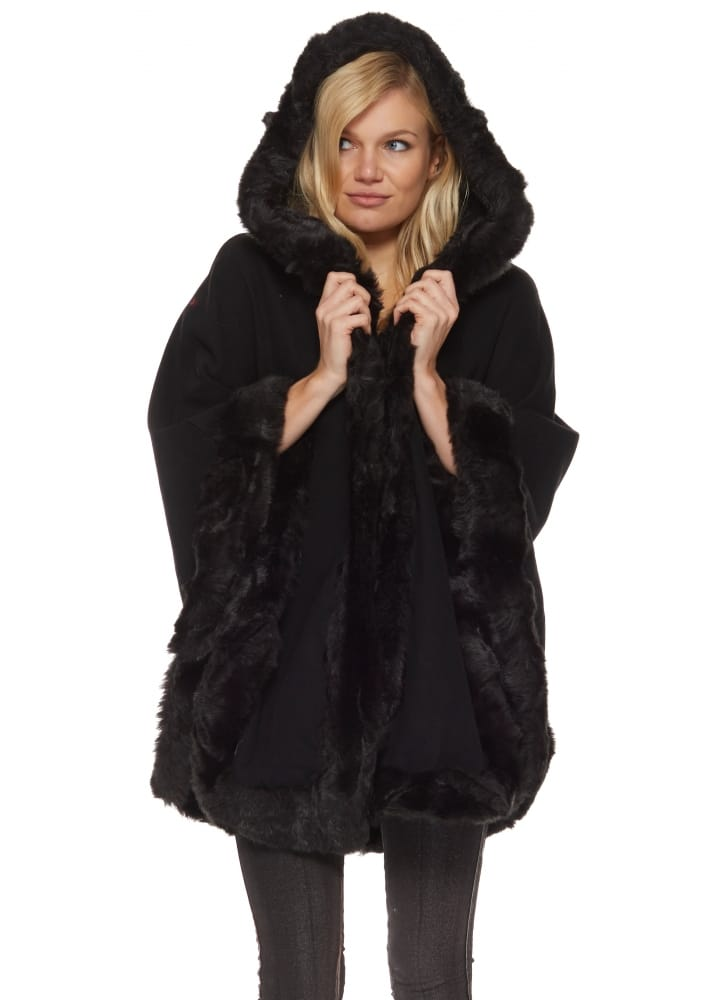 Black Poncho Faux Fur Trimmed Poncho Black Poncho Cape