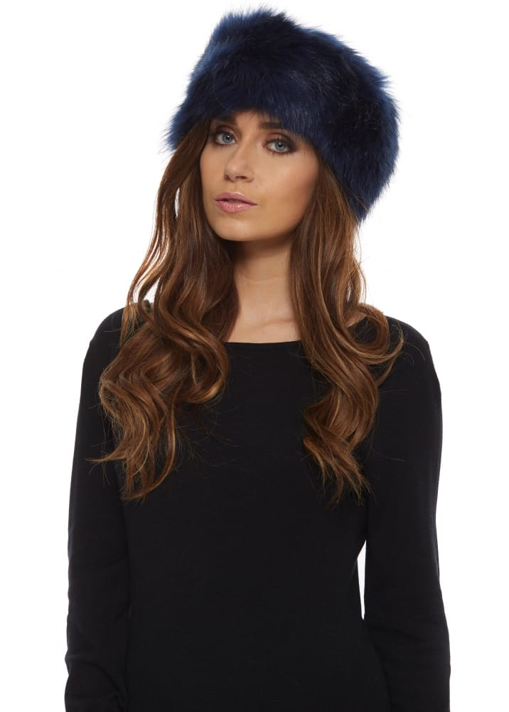 Navy Thick Fluffy Faux Fur Headband 76d3bd0c4ab