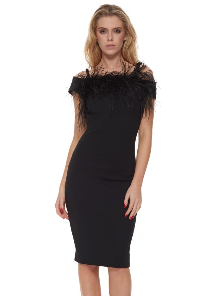 Kate Dress With Ostrich Feather Trim