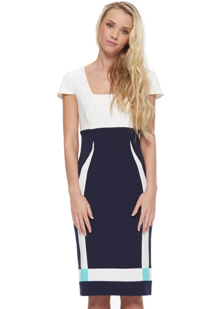 quality discount thoughts on Eden Row Winchester Dress In Navy Ivory & Mint