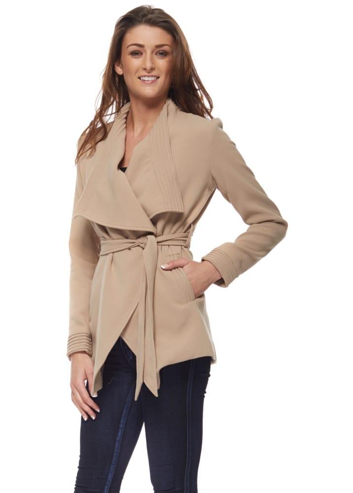 55bd114a Designer Desirables Caramel Shawl Collar Wrap Front Belted Short Coat