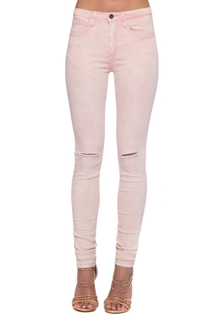 Baby Pink Distressed Ripped Knee Ladies High Waisted Jeans