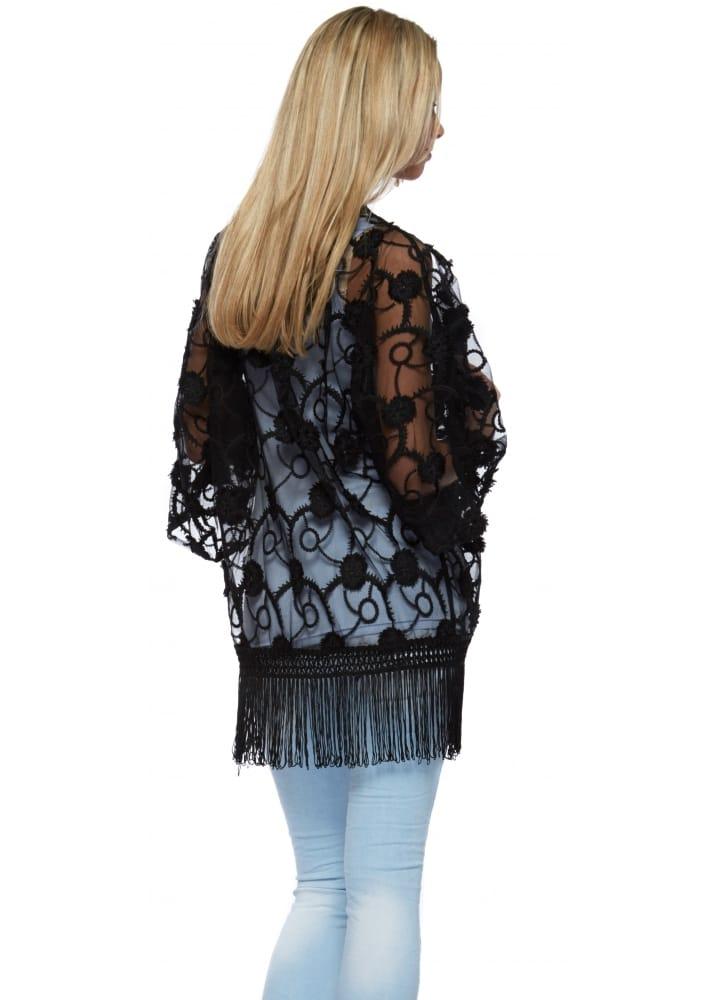 9d6892dc3 Black Flower Embroidered Sheer Fringed Kimono Jacket