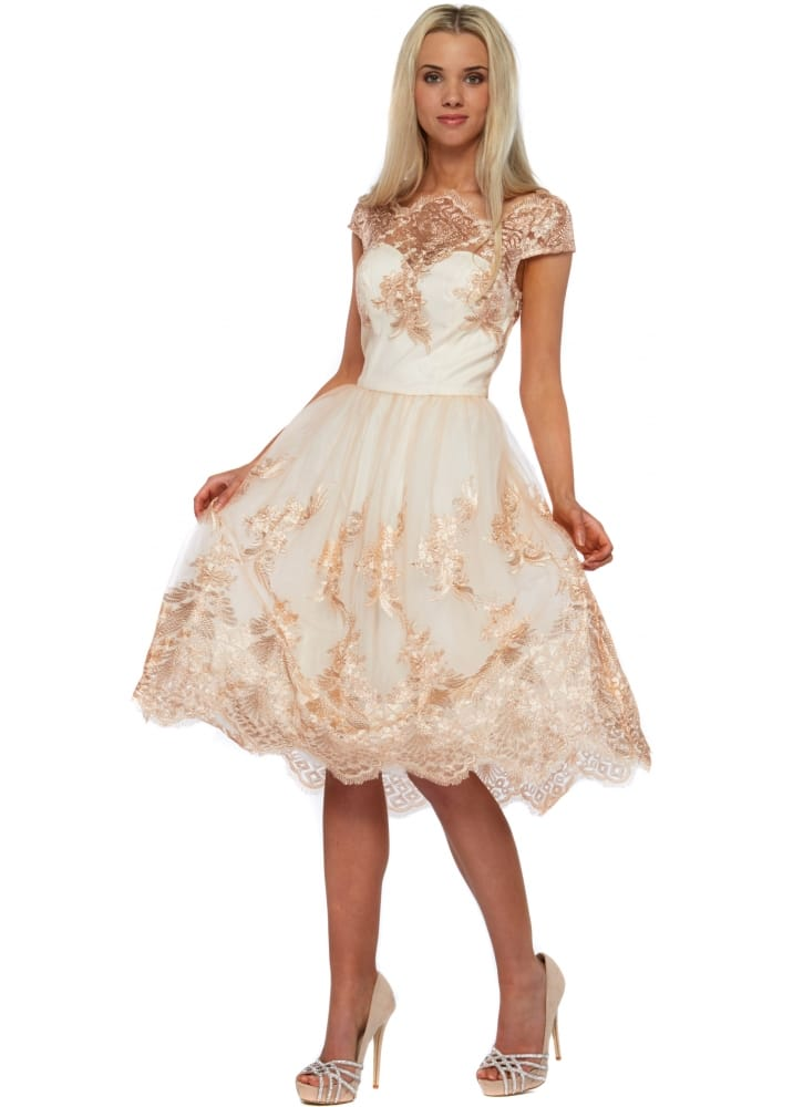 Cream and Gold Prom Dresses