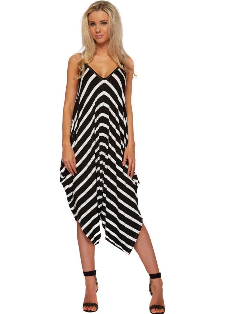 1966c9573fae Black & White Striped Harem Jumpsuit - Casual Comfy Jumpsuit
