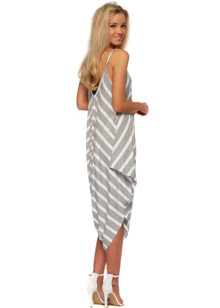 f794f7bb0cc9 Harem Jumpsuit - Grey & White Striped Casual Comfy Jumpsuit