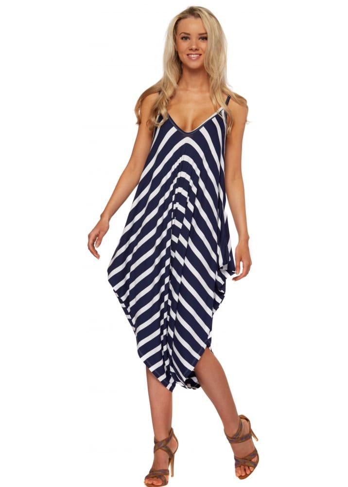 bccd9f5c588e Blue & White Striped Harem Jumpsuit - Casual Comfy Jumpsuit