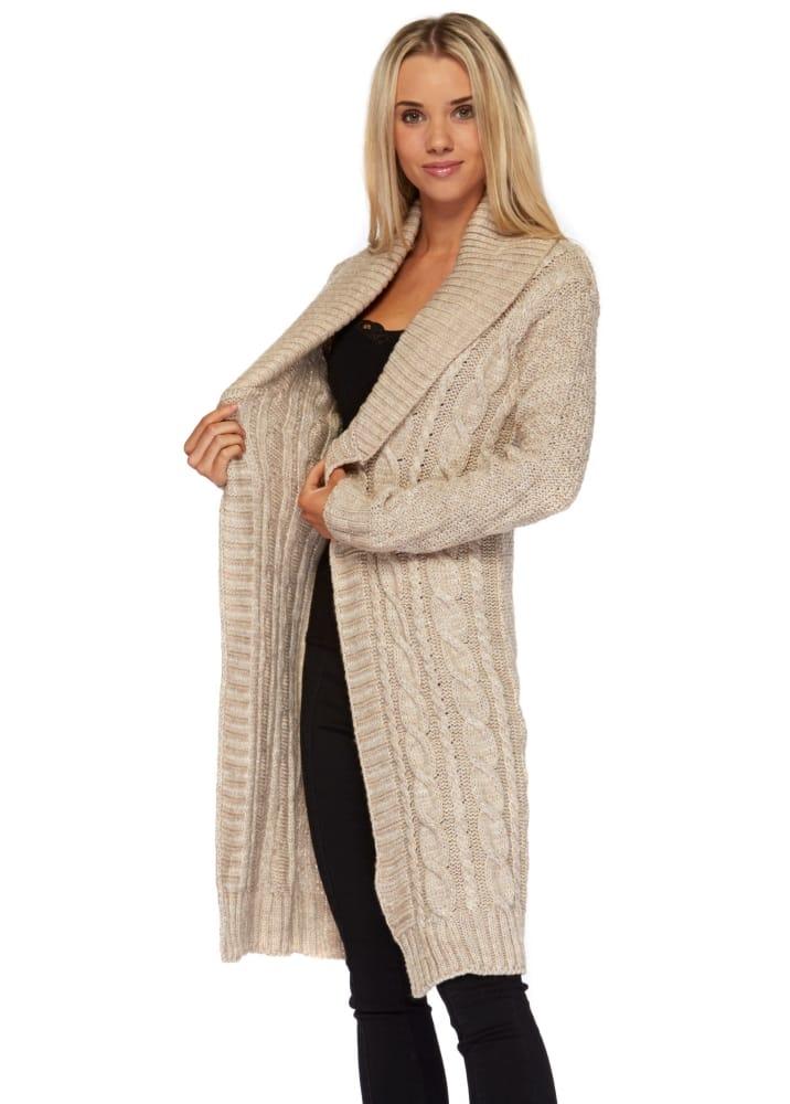 101c57d67d Beige Oatmeal Cardigan Coat - Ladies Long Chunky Knit Cardigan