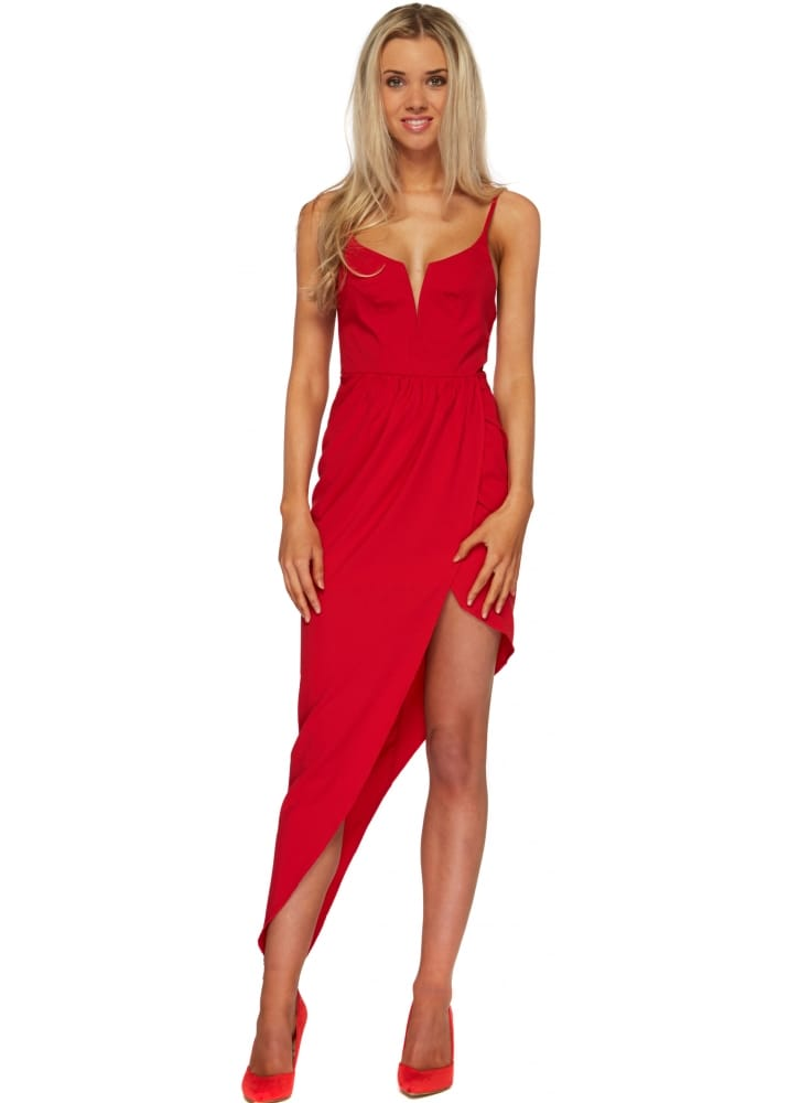 Ginger Fizz Red Asymmetric Maxi Dress Sexy Red Dress