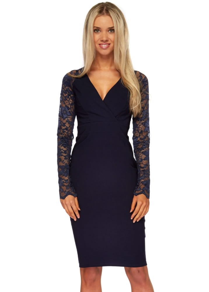 aa2d874e1413 Goddess London Navy Lace Midi Dress - Pencil Dress For Day Or Night