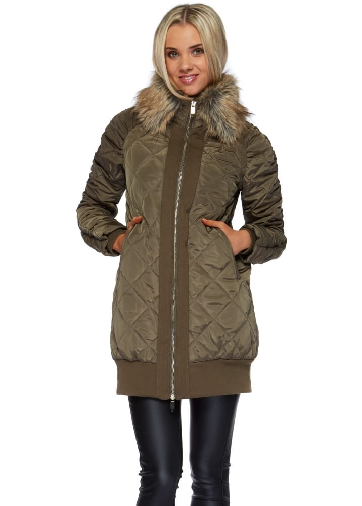 Khaki Green Quilted Coat With Faux Fur Collar