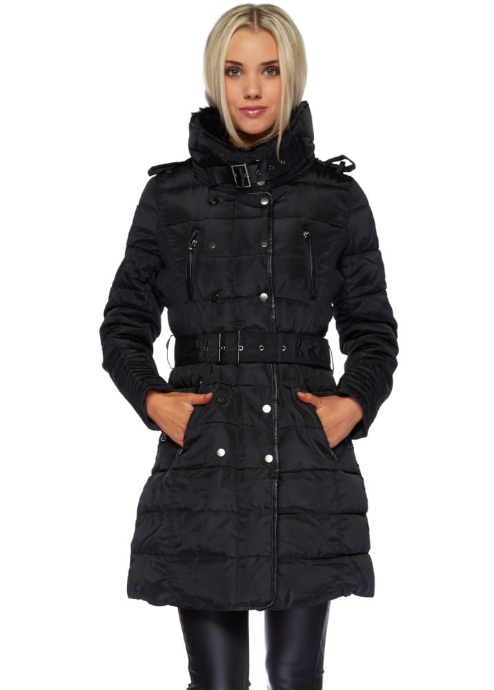Black Faux Fur Collar Belted Quilted Coat