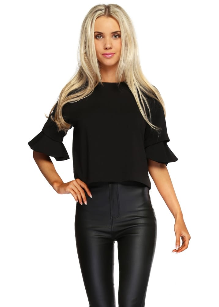 9a65c6e2a9 Brigitte Bardot Black Textured Cropped Top With Fluted Sleeves