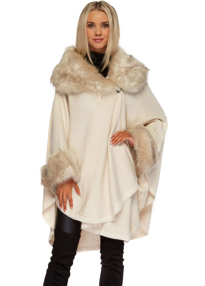 Urban Mist Cream Faux Fur Asymmetric Poncho Cream Faux