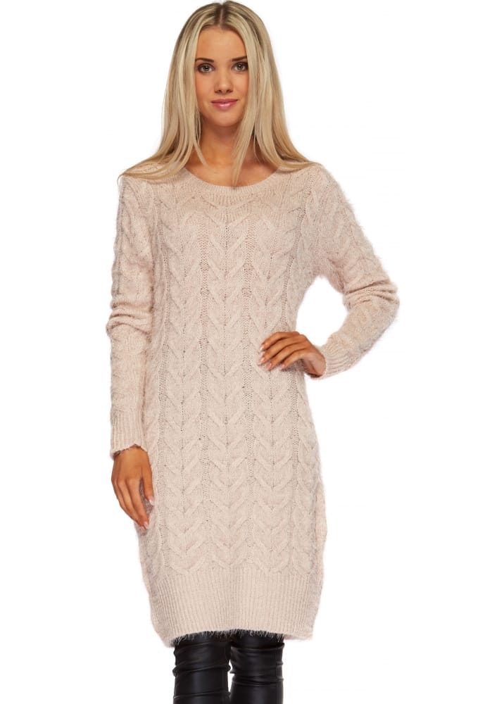 202d2822e Baby Pink Cable Knit Jumper Dress - Pink Oversized Slouch Jumper
