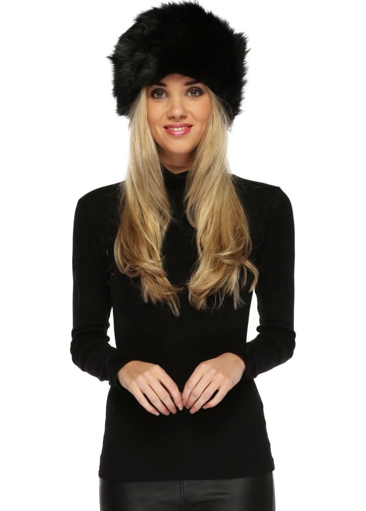 Black Faux Fur Cossack Hat - Urban Mist 8768766ea27