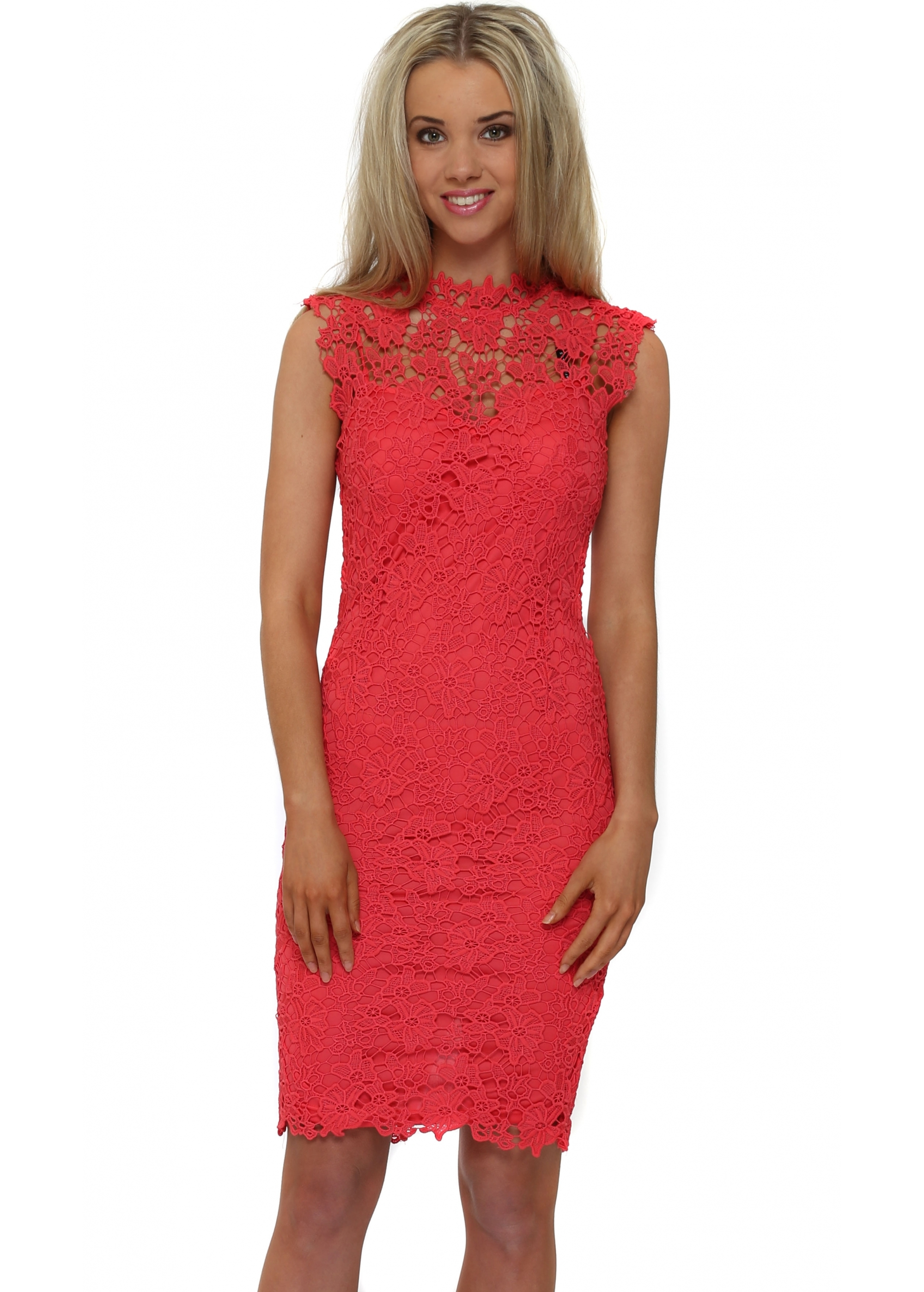 3daa5a006bd4 Paper Dolls Chloe Lewis Dress - Coral Crochet Lace Dress