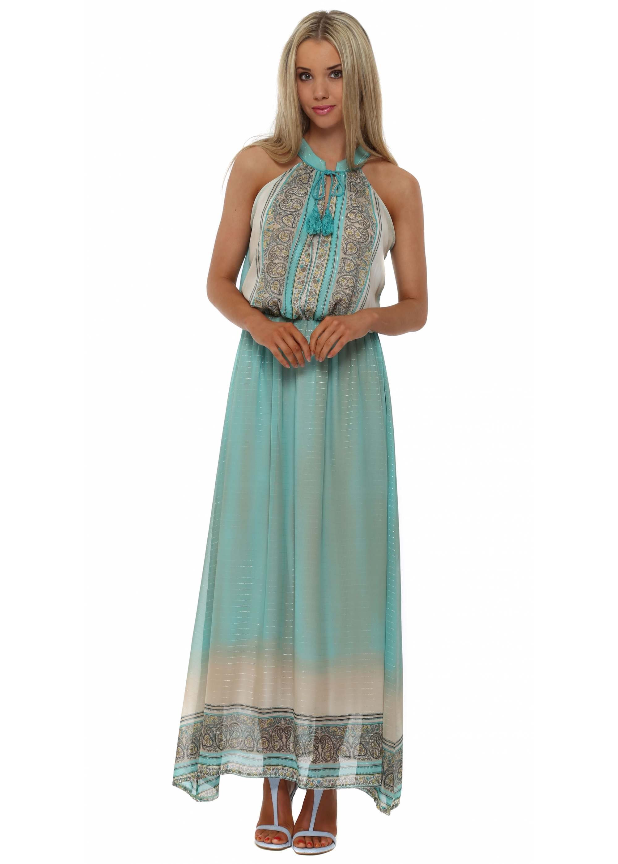 Just M Paris Aqua Boho Maxi Dress