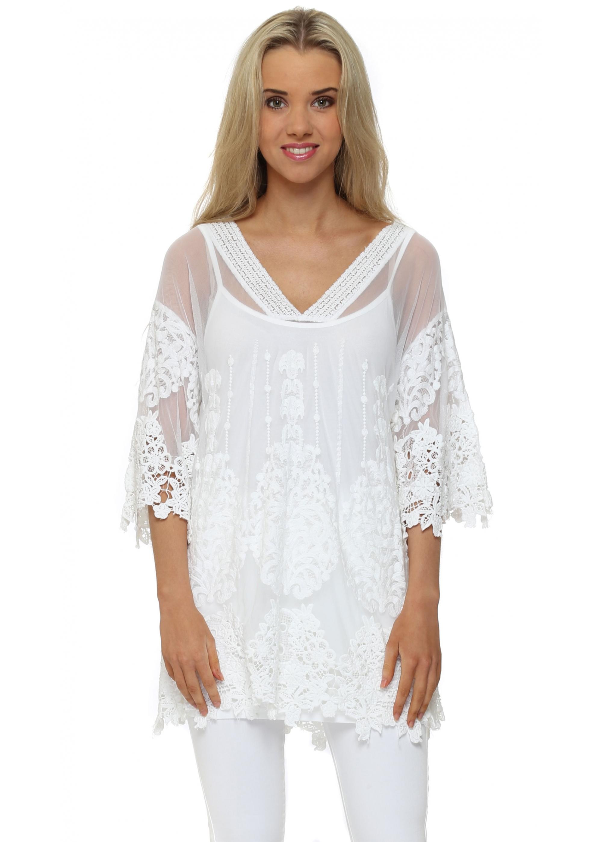 Outlet New Jersey >> J&L Paris - White Lace Tunic Top