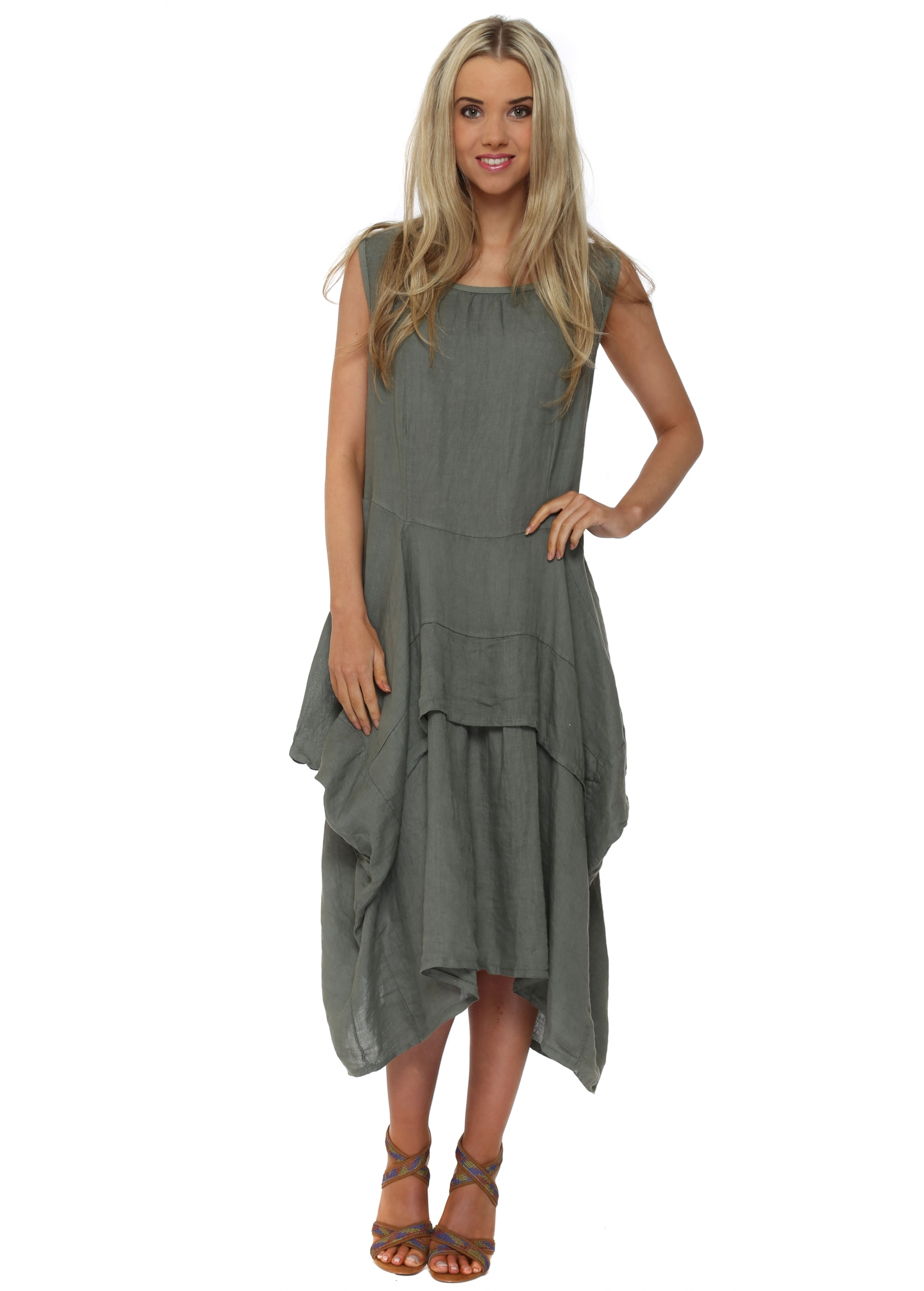 9417f976cc7 Made In Italy - Khaki Green Linen Layered Day Dress