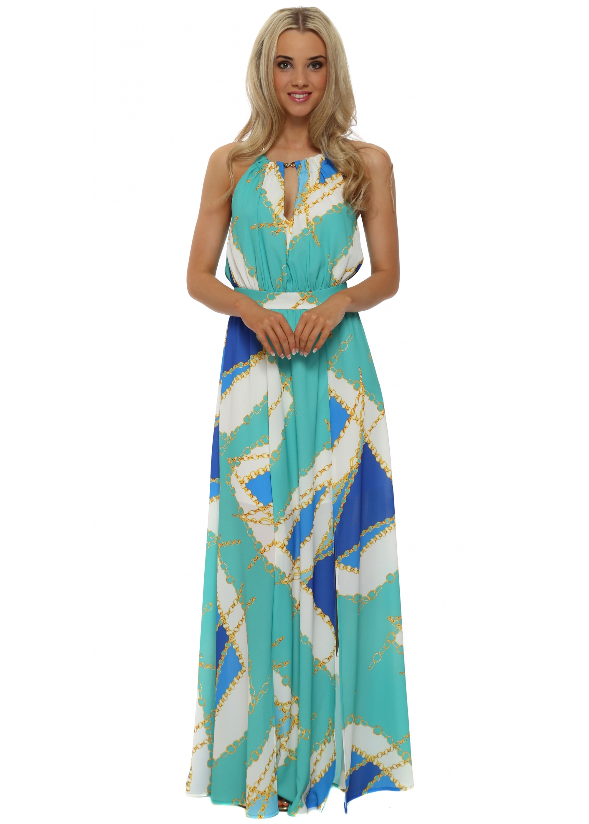 Maxi Jurk Turquoise.Rinascimento Gold Chain Print Turquoise Maxi Dress