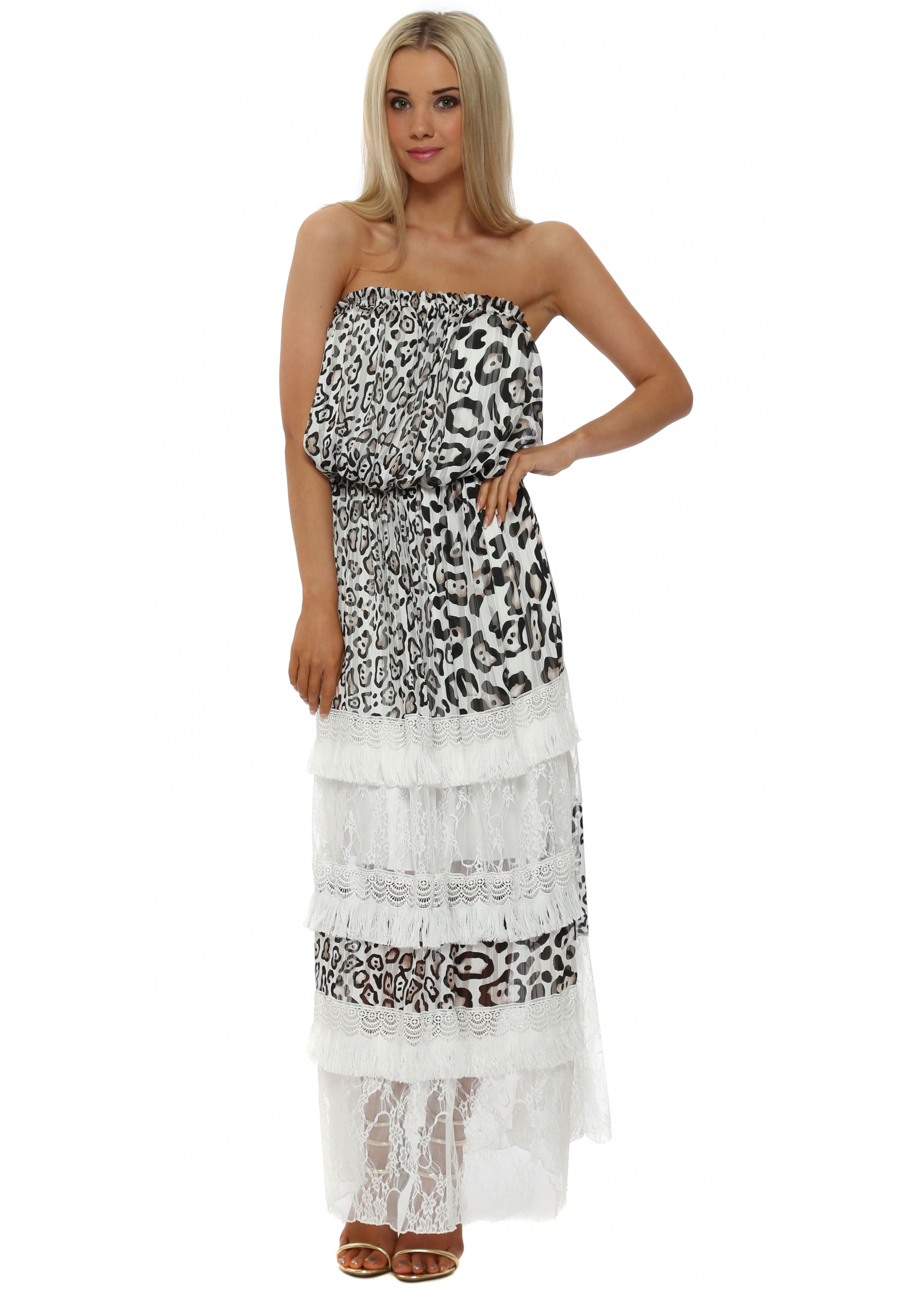 08af41fa60 My Story Paris Leopard Print Lace Maxi Dress