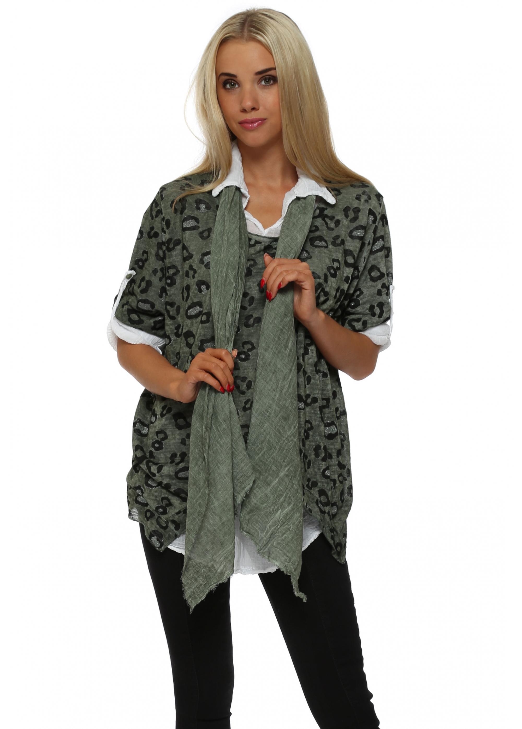 06ce5b188b5f Khaki Leopard Print Knit Shirt Top With Scarf