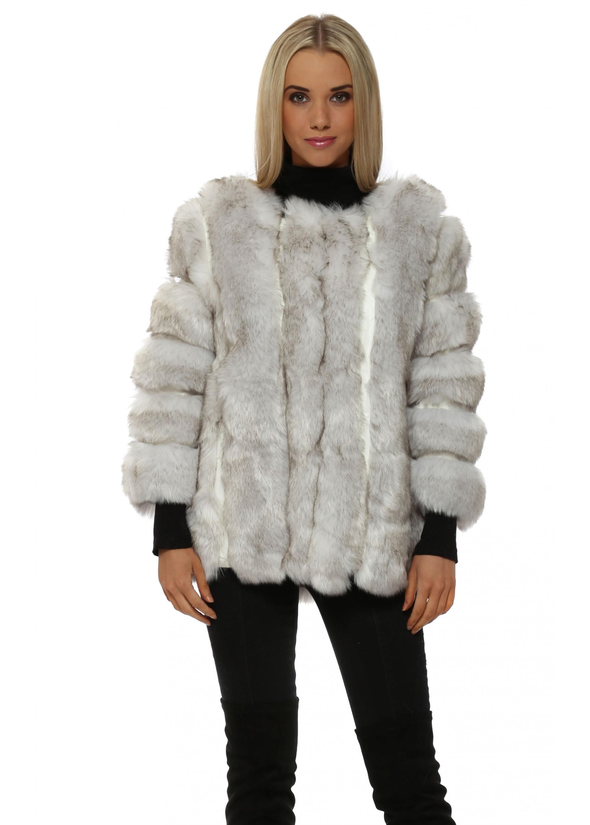 3123a6a1a JayLey Winter White Luxe Faux Fox Fur Coat