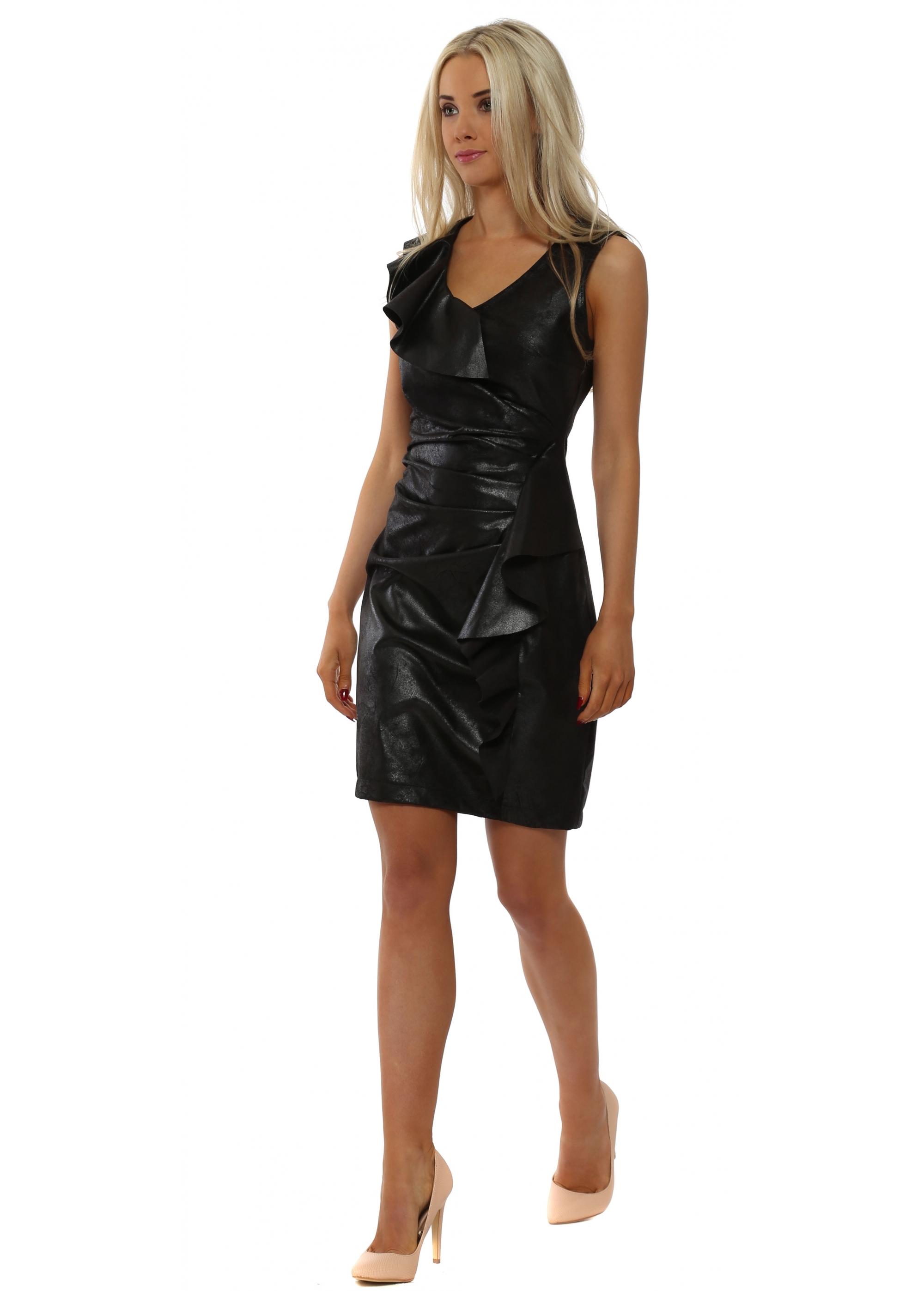 e7d60bdac01 Black Faux Leather Waterfall Frill Pencil Dress