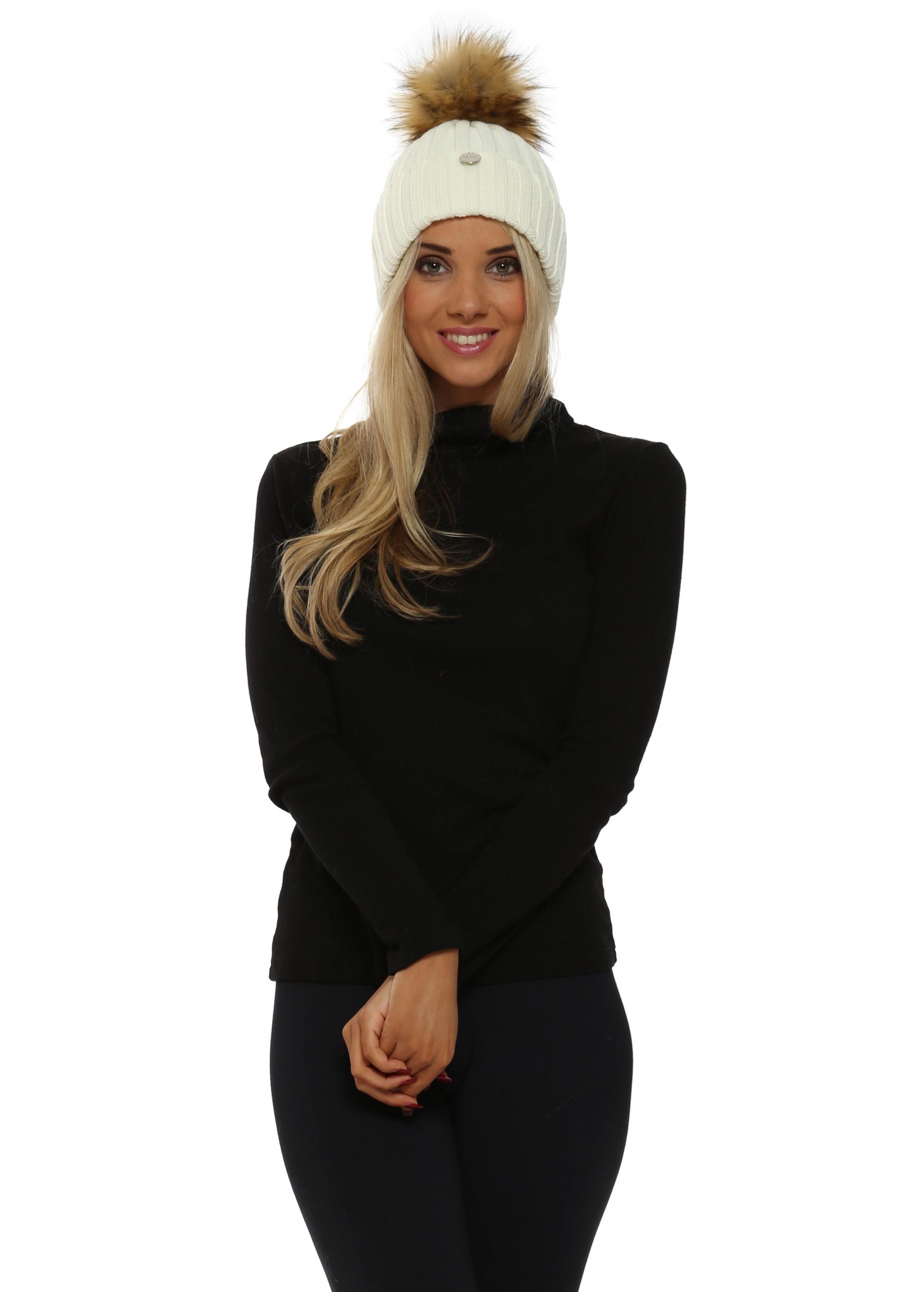 Fur Bobble Beanie Pom Pom Hat - Cream Fur Pom Pom Hat 5665156114c