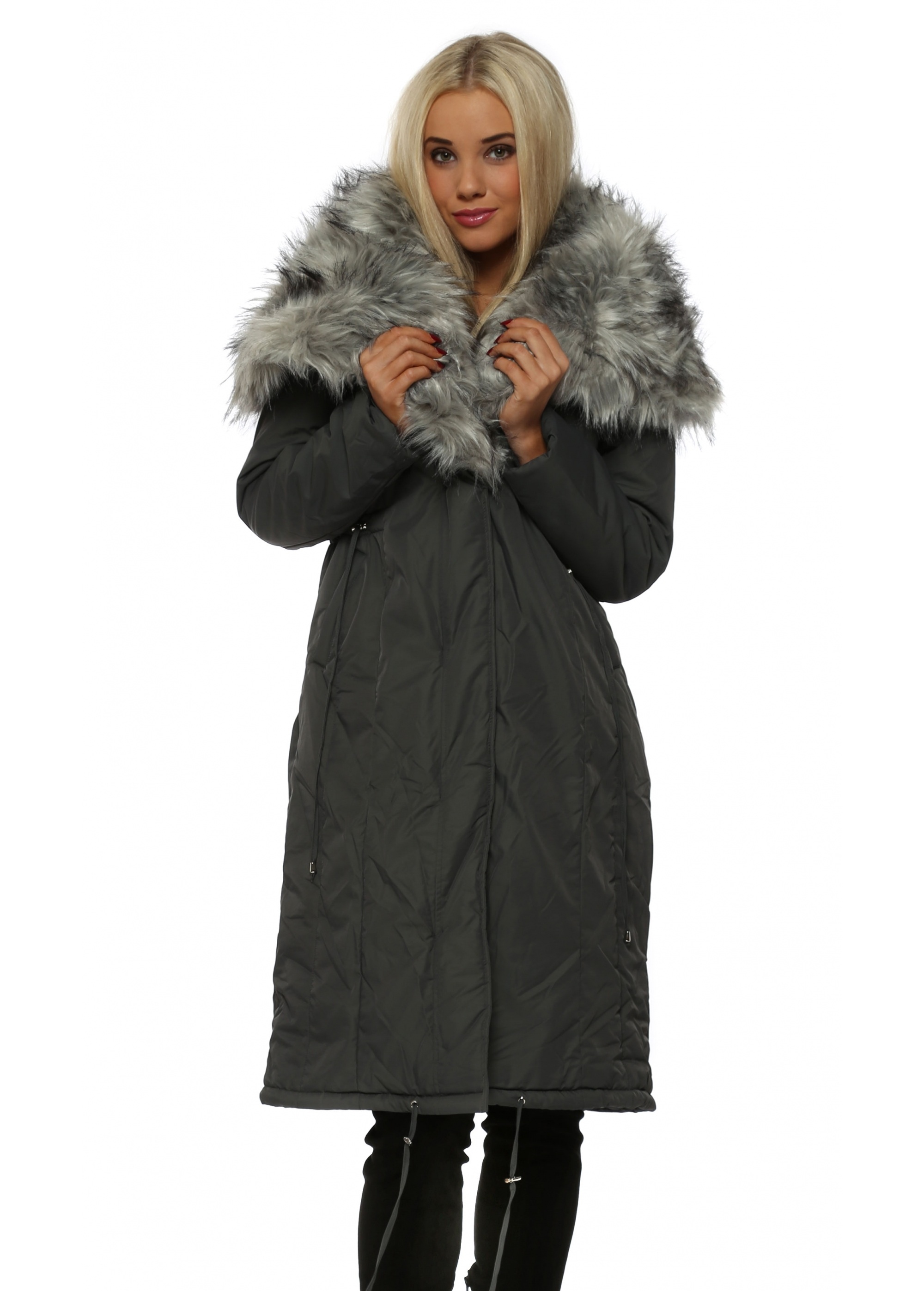 47b472a79eff6 Grey Quilted Coat With Oversized Luxe Faux Fur Collar