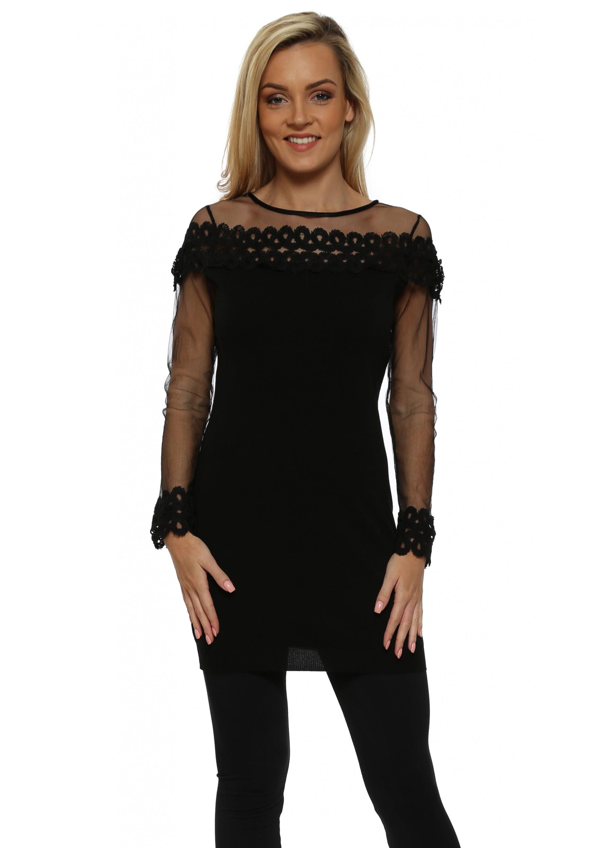 3b7d82b5f7d Laetitia Mem Black Mesh Sleeve Spiral Lace Jumper