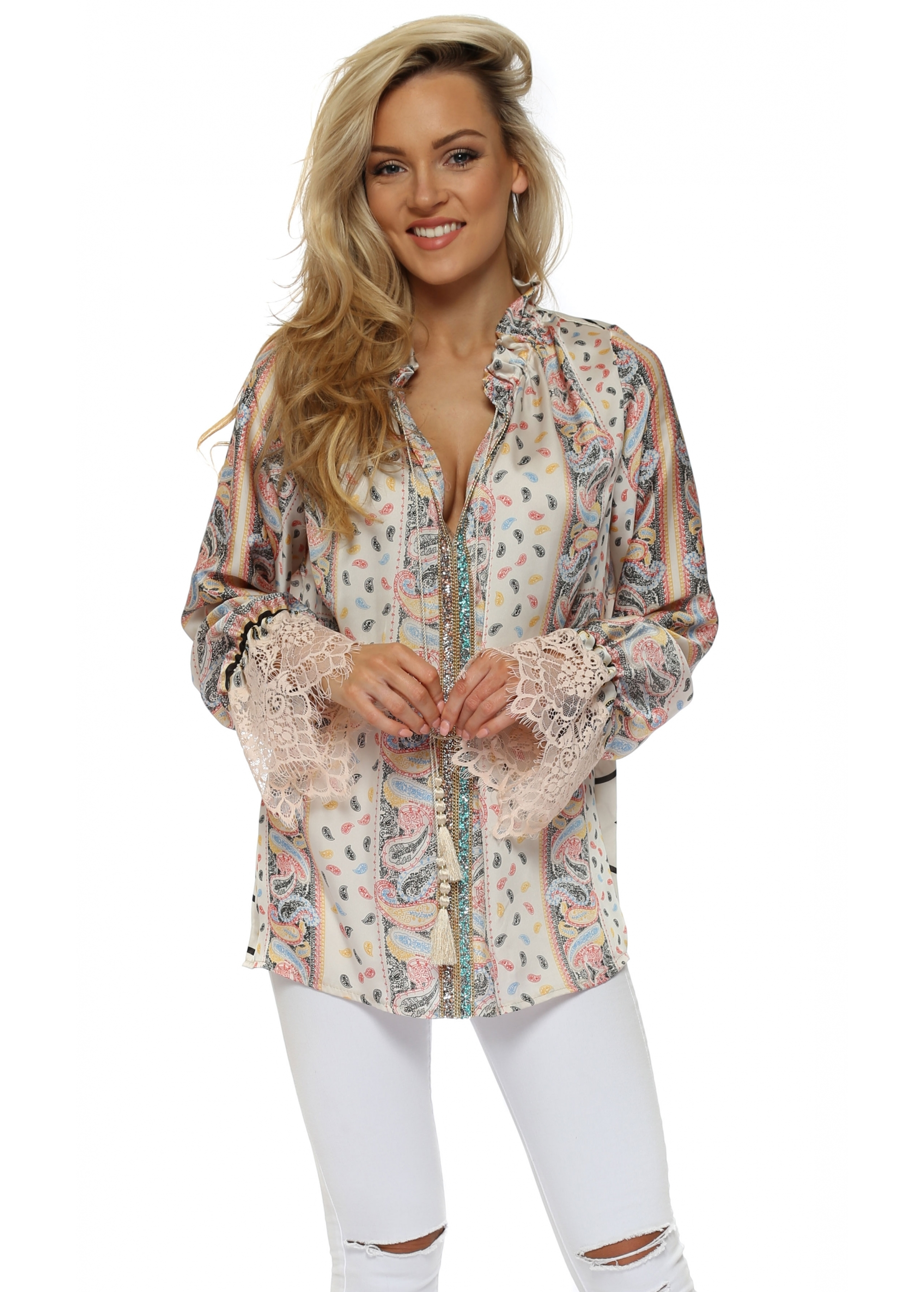 ccc4f23bc2db0a Multicoloured Jewelled Pink Lace Cuffs Blouse