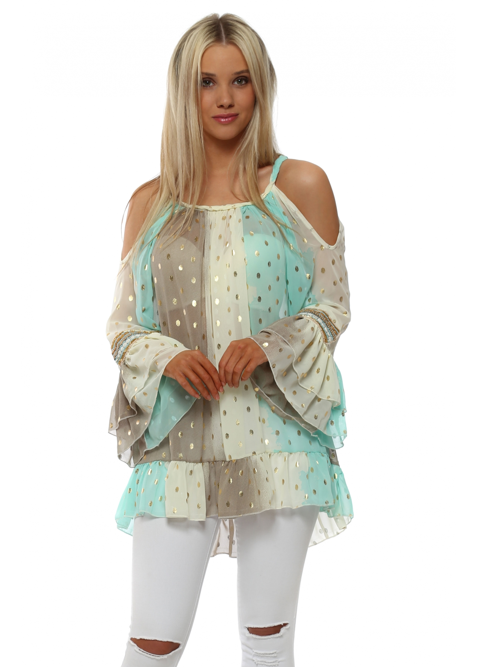 fe3bdd8147237 My Story Mint Gold Foil Spot Printed Tunic Top