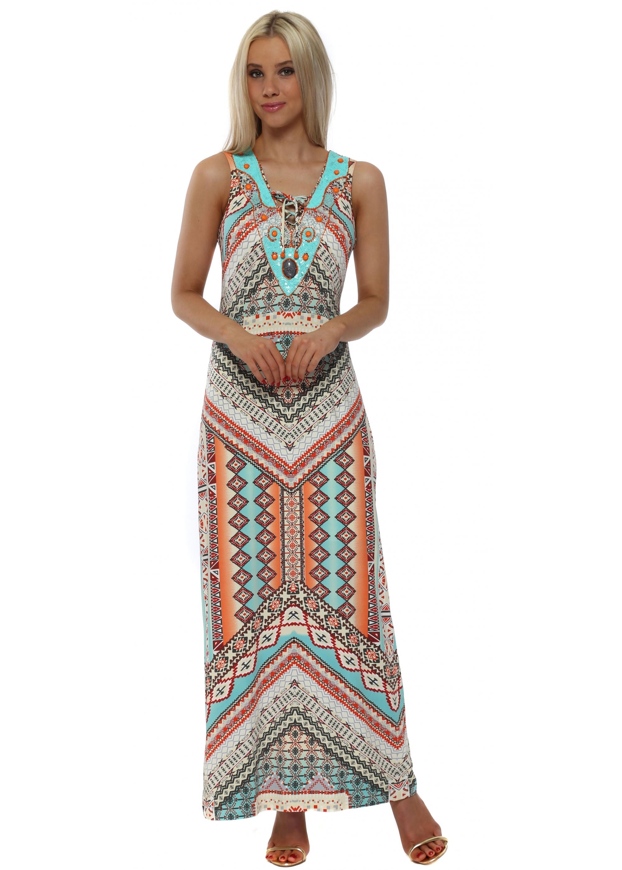 Maxi Jurk Turquoise.K Design Dress J877 Multicoloured Sequinned Maxi
